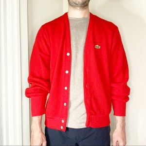 Izod Lacoste Vintage Cardigan Sweater Red Small